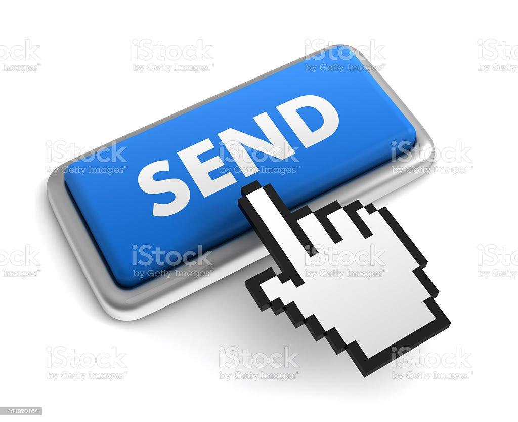 Hand Cursor on Send Button stock photo