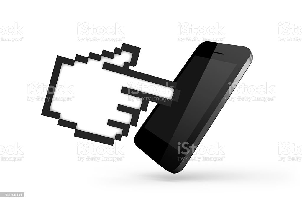 Hand Cursor with Smart Phone stock photo