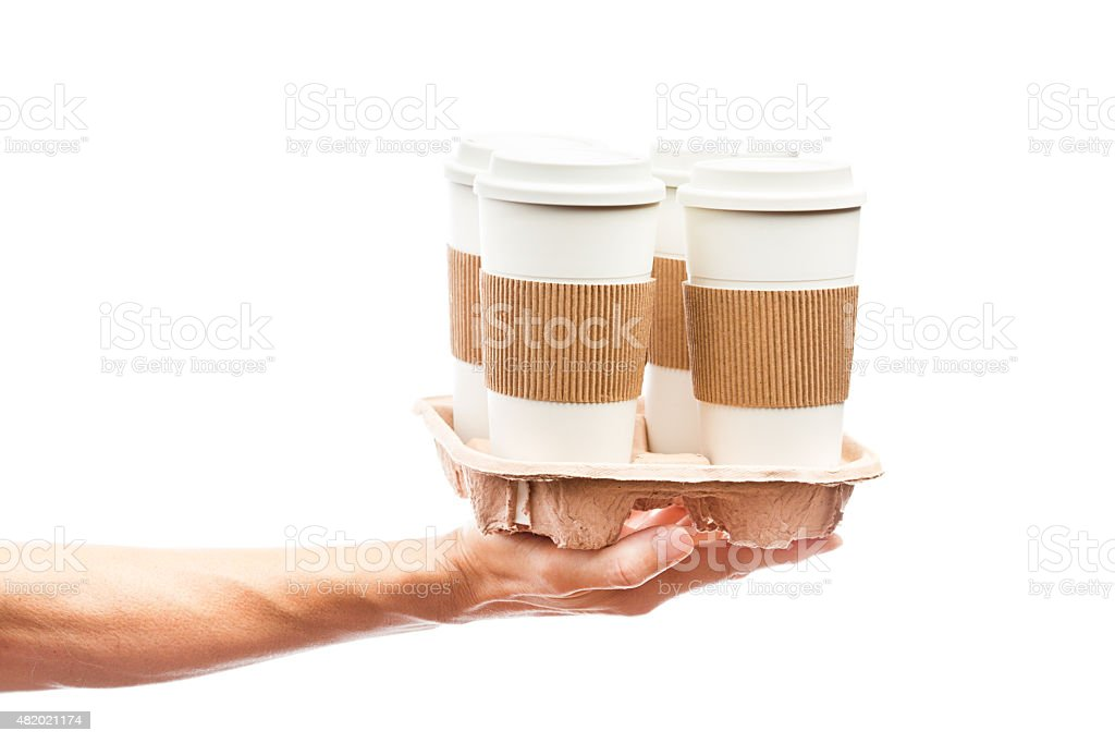 Hand Delivering Takeout Delivery Fast Food Hot Drinks Container Carrier stock photo