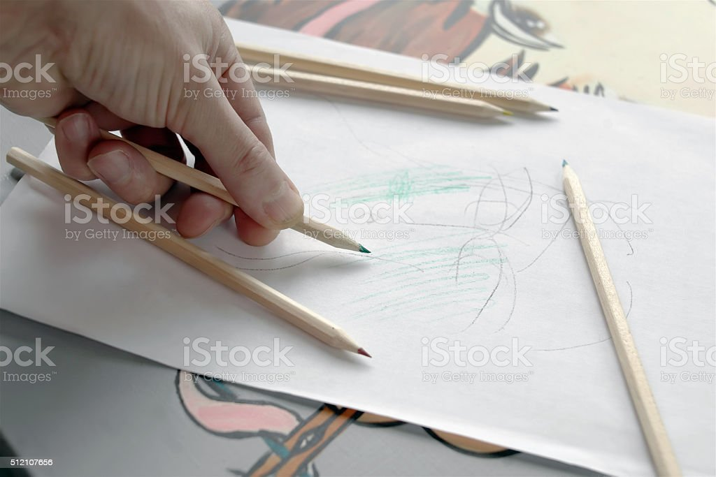 Hand Drafting Sketch stock photo
