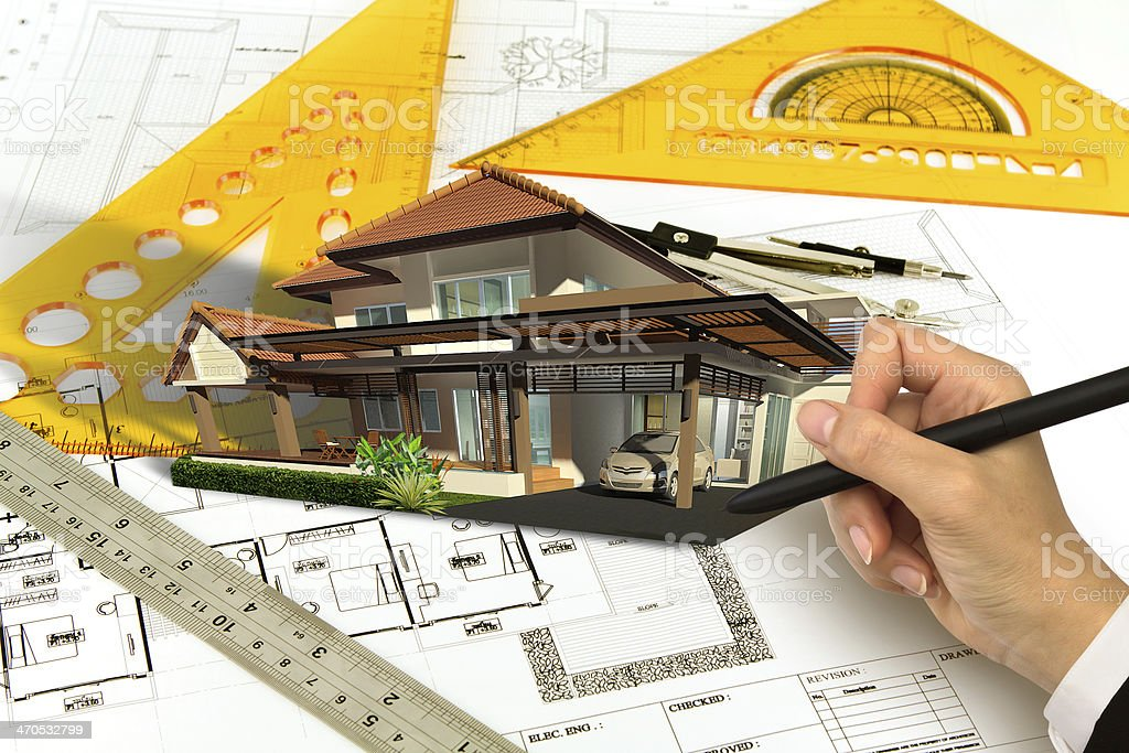 Hand draw Blueprint of a house royalty-free stock photo