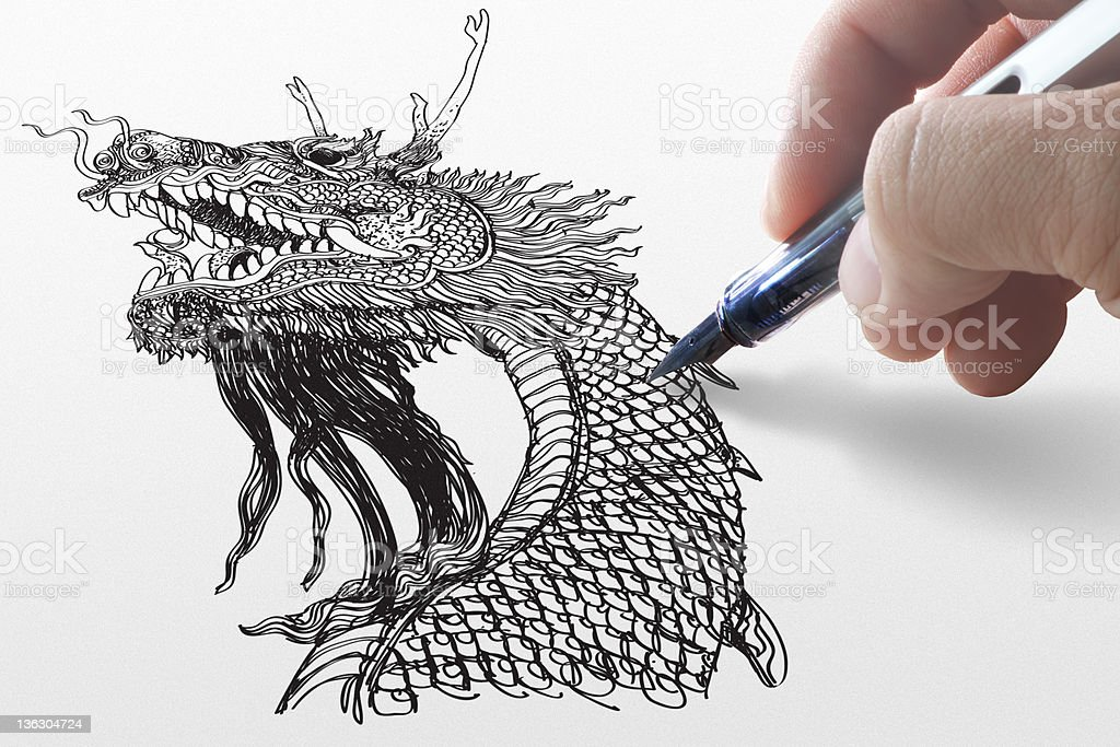 hand draw dragon royalty-free stock photo