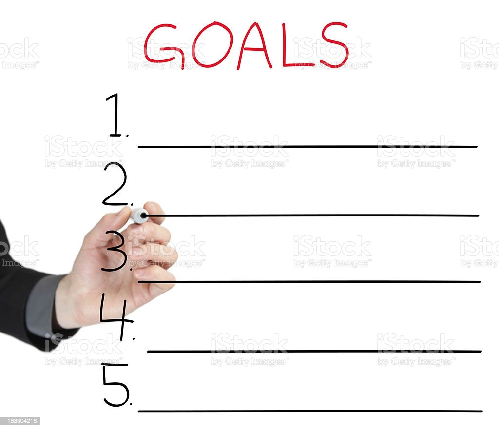 Hand drawing a diagram with 5 goals royalty-free stock photo