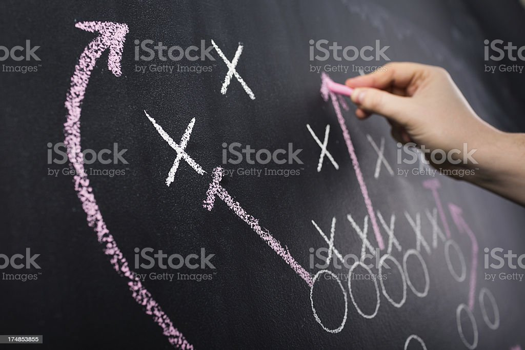 Hand drawing a game strategy royalty-free stock photo