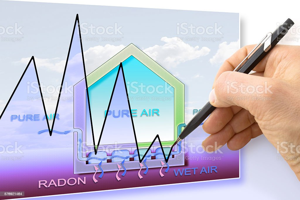 Hand drawing a graph about radon issue stock photo