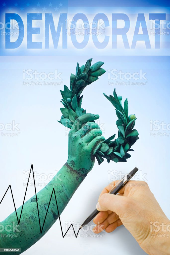 Hand drawing a graph about United States Presidential Elections 2016 - concept image stock photo