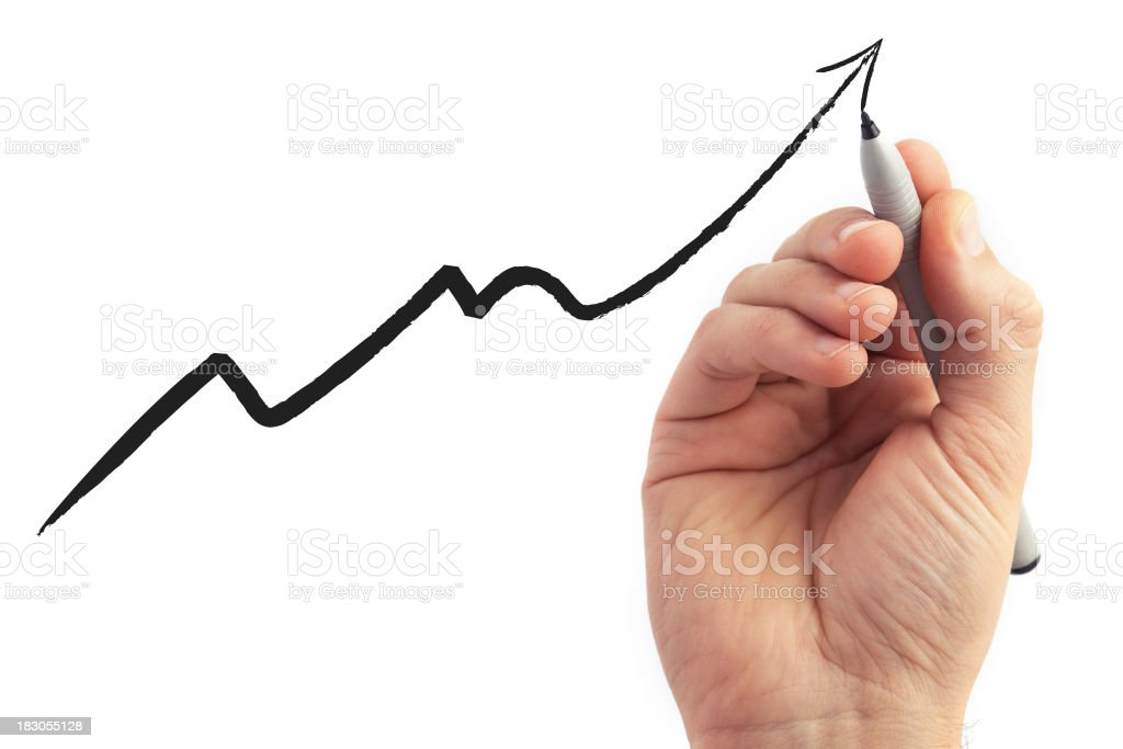 hand drawing a graph on white background stock photo