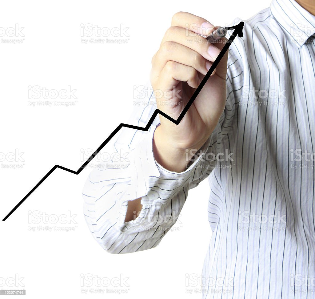 hand drawing a graph royalty-free stock photo
