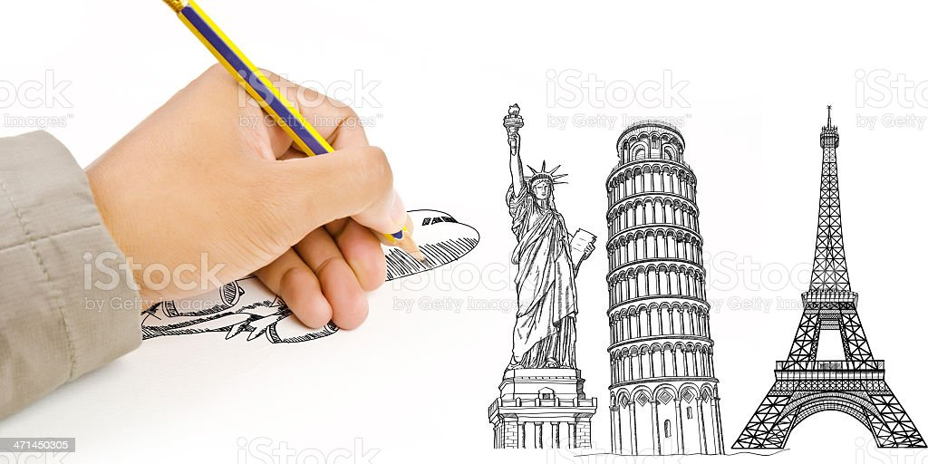Hand Drawing Airplane for travel around the world royalty-free stock photo