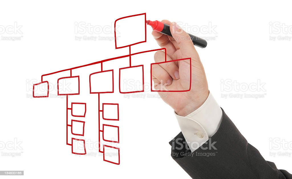 A hand drawing an organizational chart  stock photo