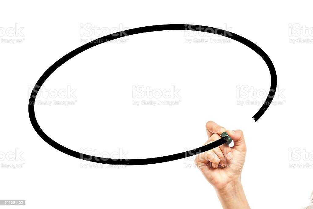 Hand Drawing Blank Oval Bubble stock photo