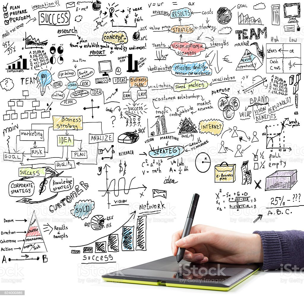 Hand drawing  brainstorming doodles stock photo