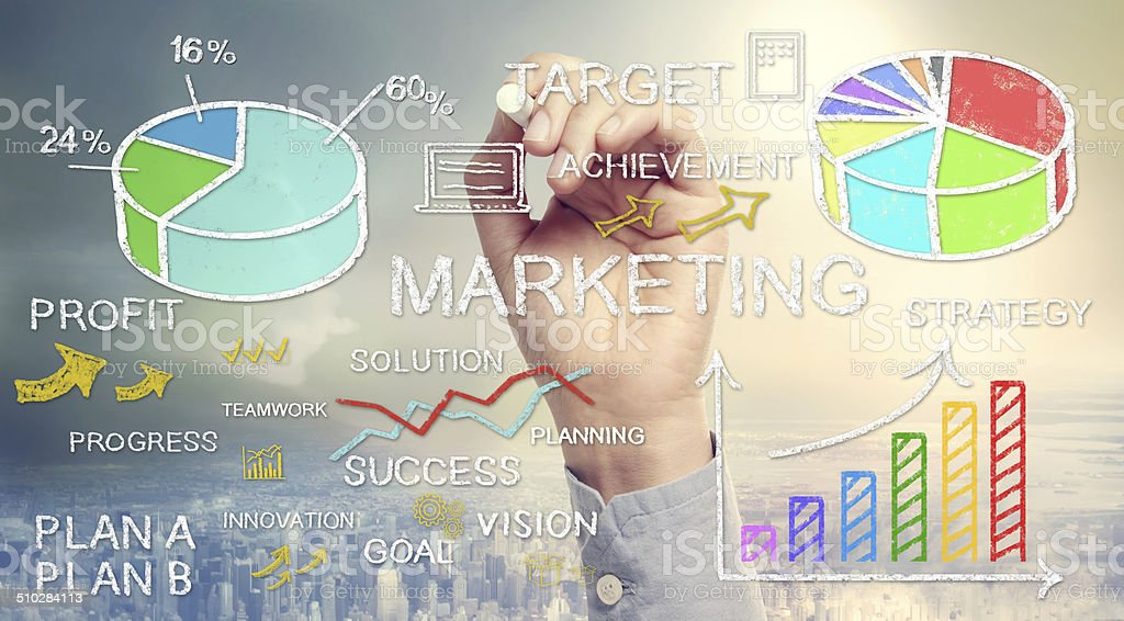 Hand drawing business marketing concepts stock photo