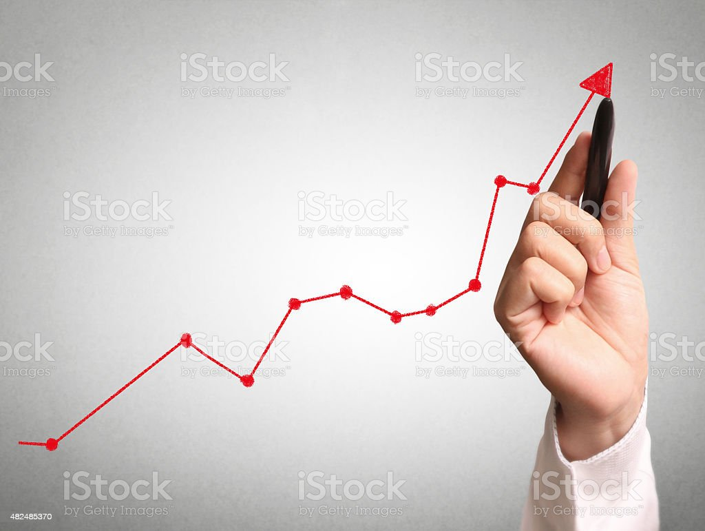 hand drawing  chart show stock photo