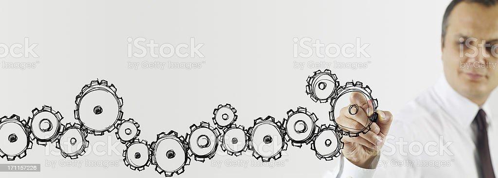 Hand drawing cogwheels royalty-free stock photo