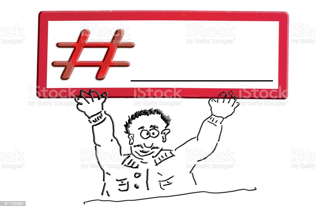 Hand drawing comic figure with sign inscription # Hashtag. stock photo