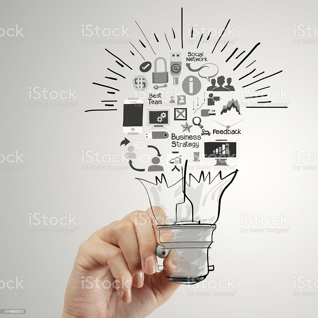 hand drawing creative business strategy with light bulb as conce stock photo