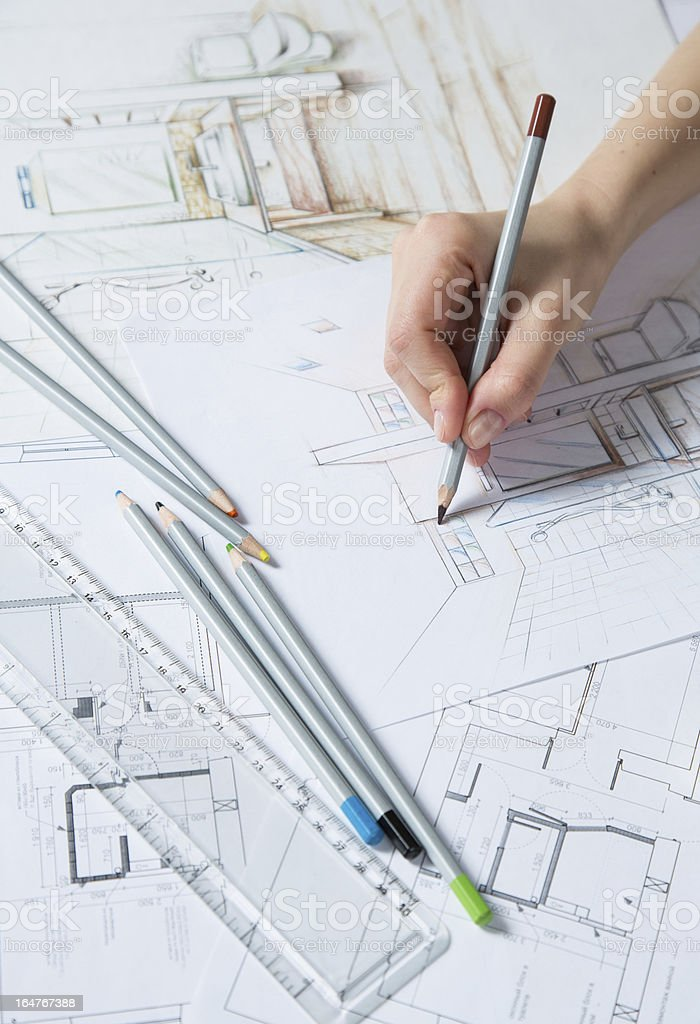 Hand drawing details of the interior royalty-free stock photo