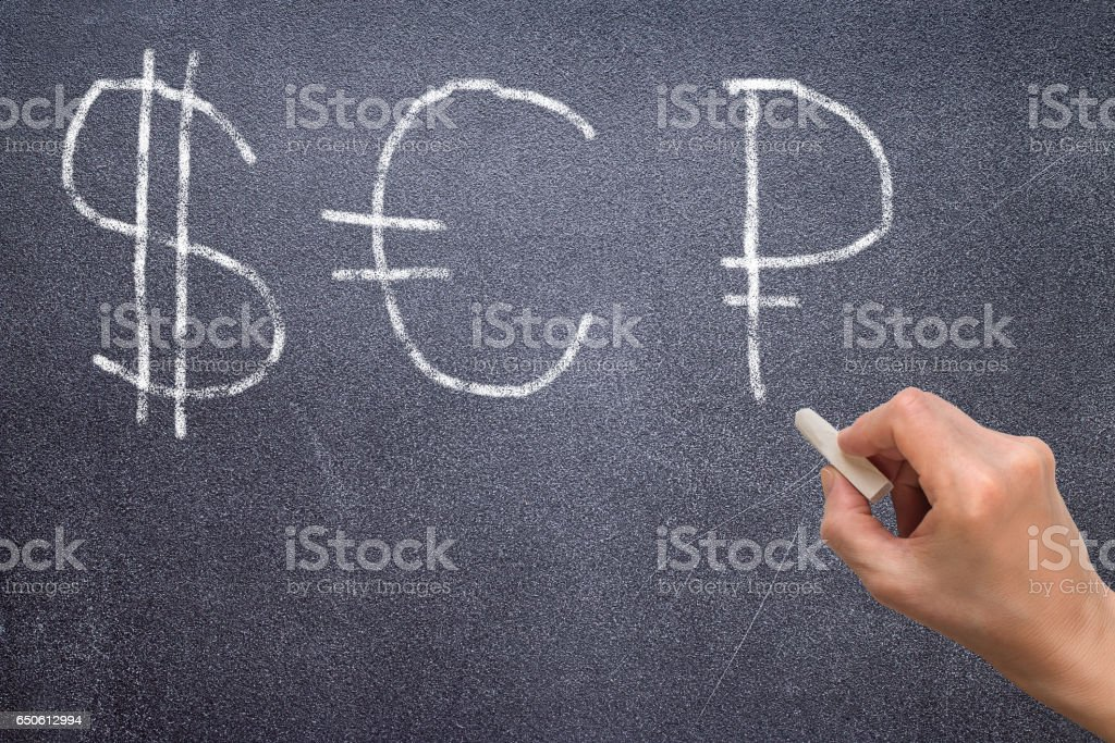 Hand drawing dollar sign, euro sign and ruble sign stock photo