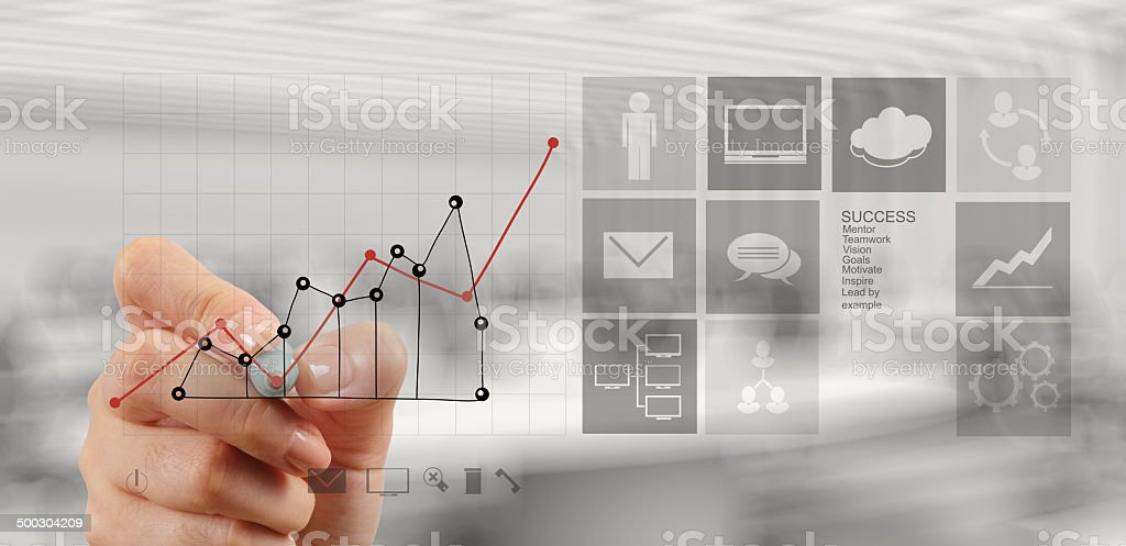 hand drawing graph chart and business strategy as concept royalty-free stock photo
