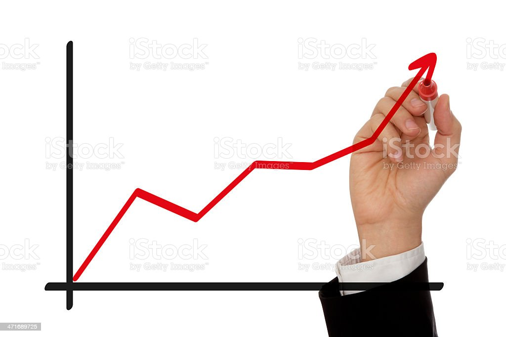 Hand Drawing Growth Chart royalty-free stock photo
