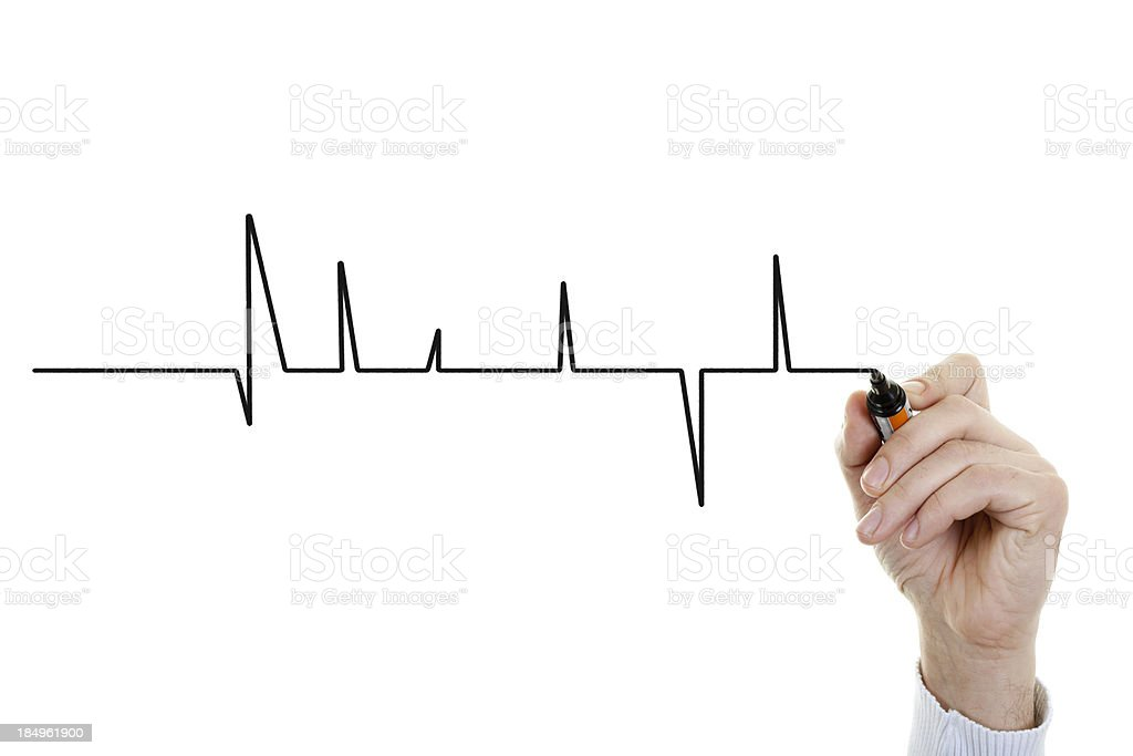 Hand drawing heart beat royalty-free stock photo