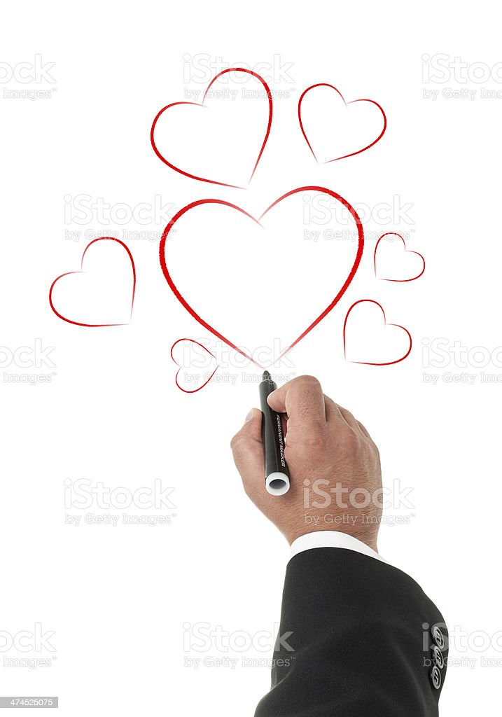 Hand drawing hearts isolated on white background. stock photo