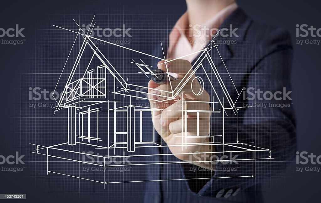 Hand drawing house on screen royalty-free stock photo