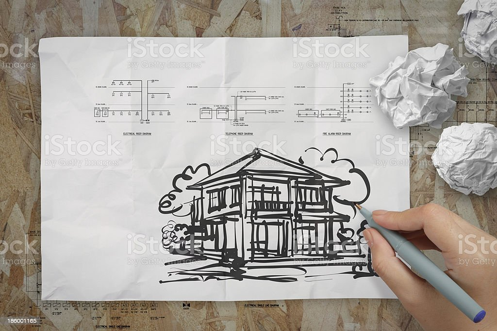 hand drawing house on wrinkled paper royalty-free stock photo