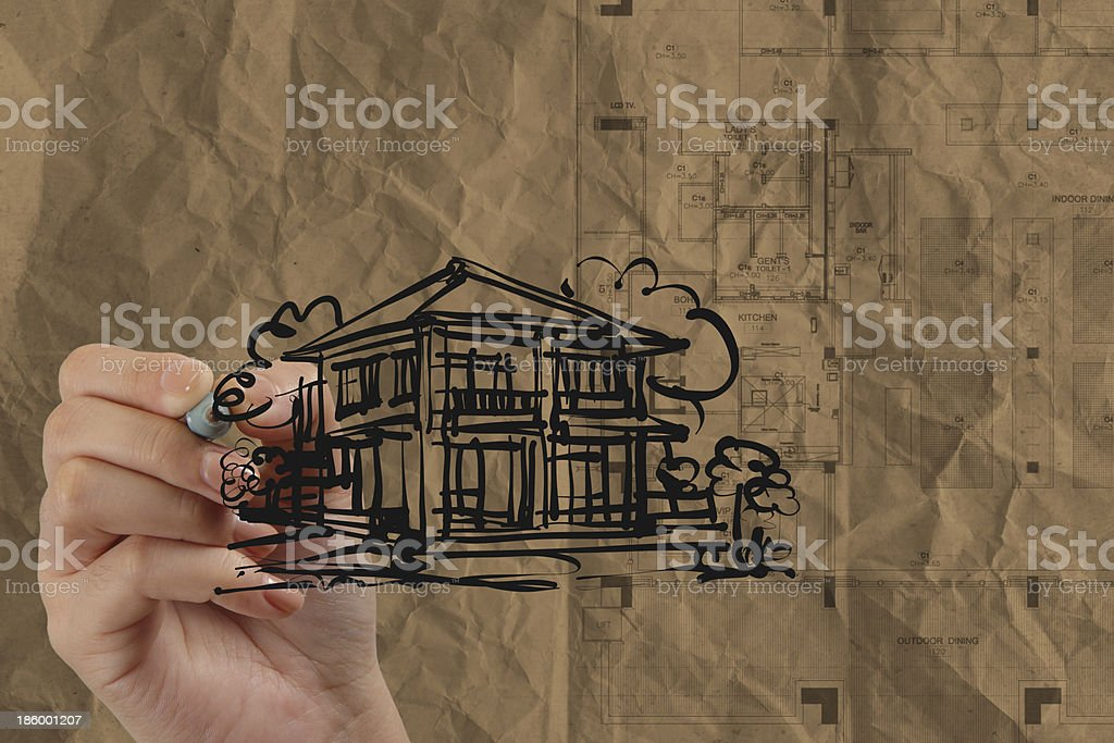 hand drawing house with wrinkled recycle paper royalty-free stock photo