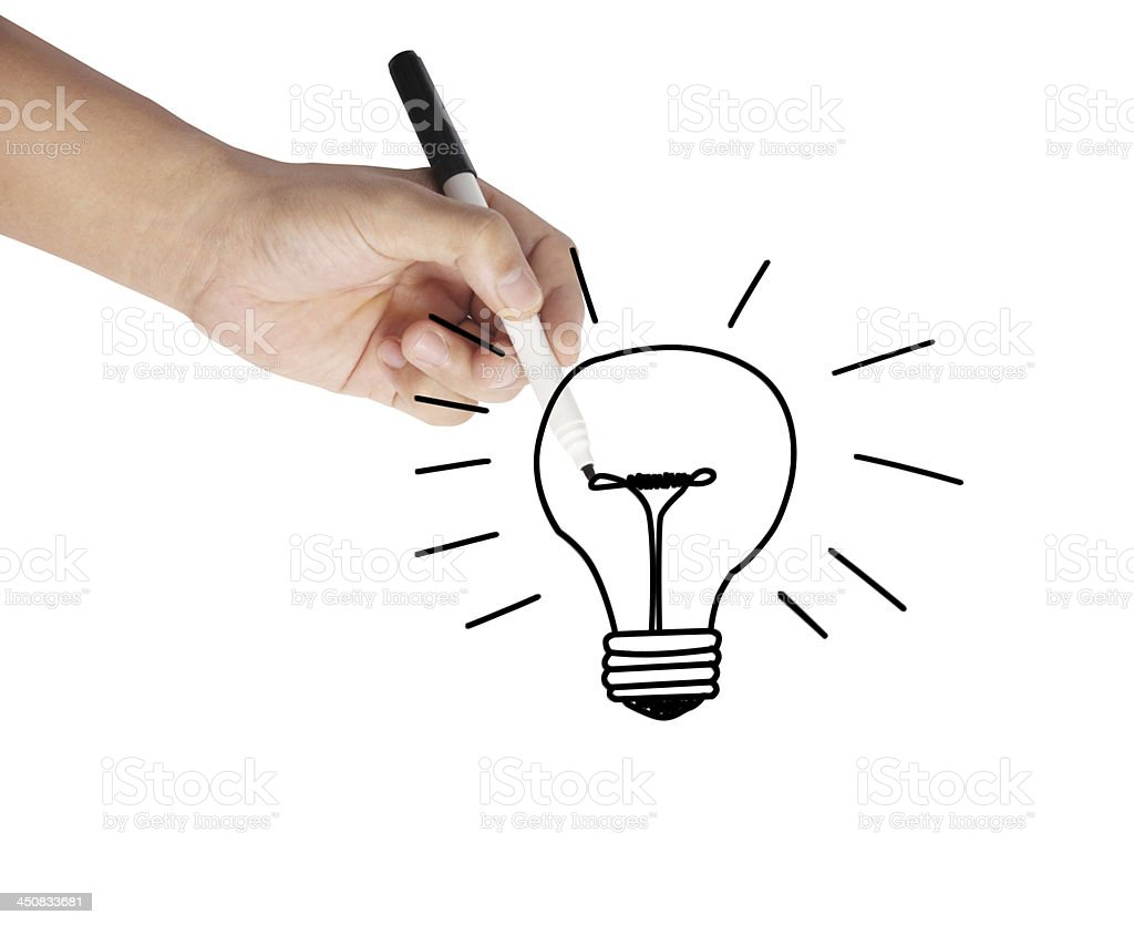 Hand drawing light bulb royalty-free stock photo