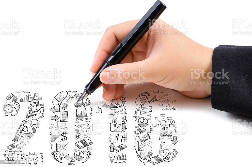 Hand drawing New Year 2016 Text Design. stock photo