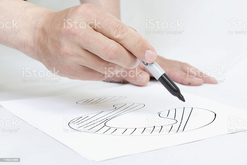 Hand drawing question markl on white paper royalty-free stock photo