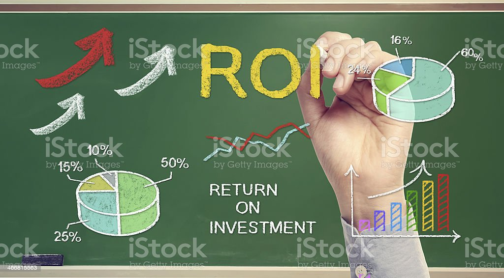 Hand drawing ROI (return on investment) stock photo