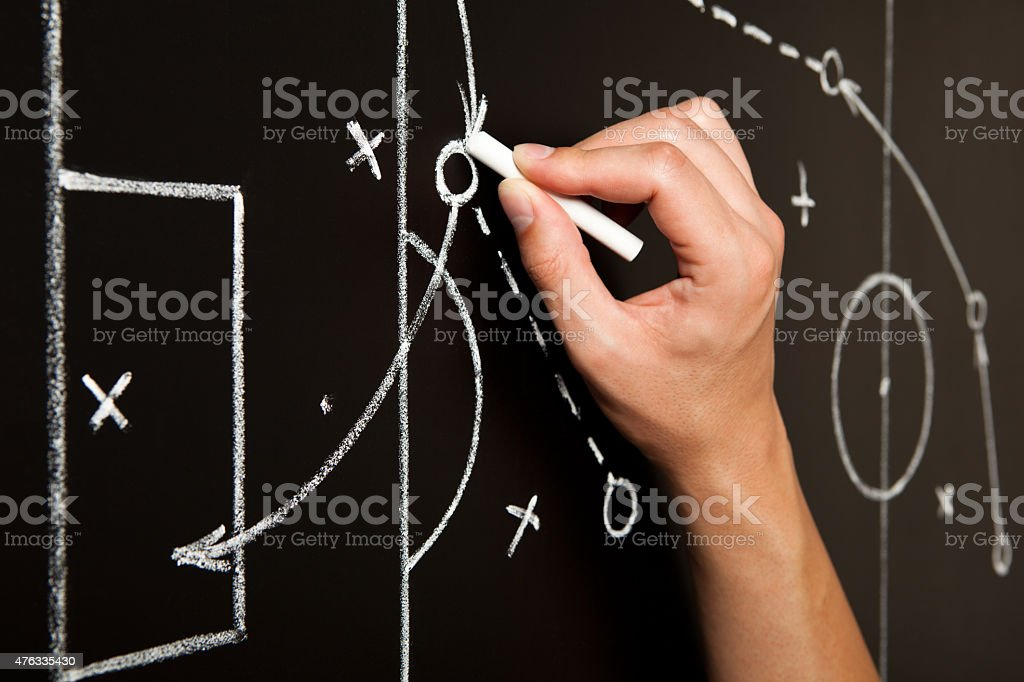 Hand Drawing Soccer Game Tactics stock photo