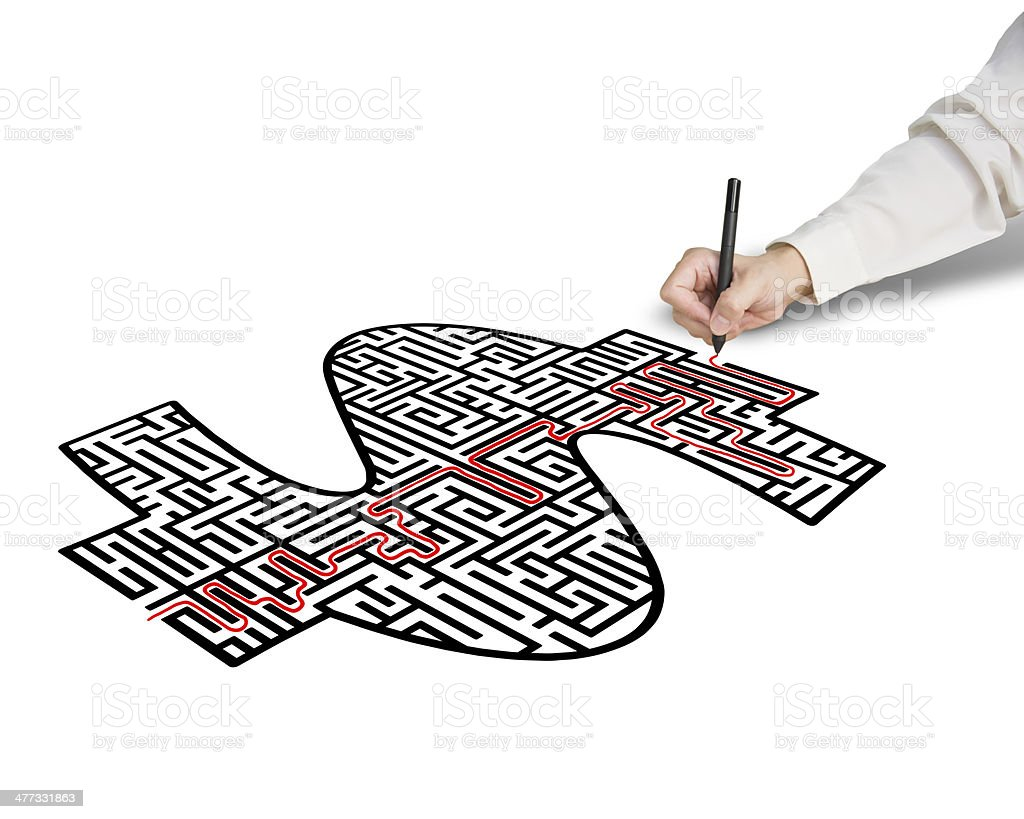hand drawing solution for money shape maze royalty-free stock photo