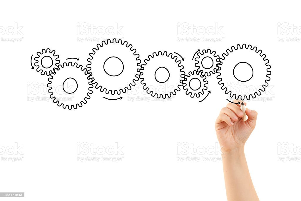 Hand drawing some gears stock photo