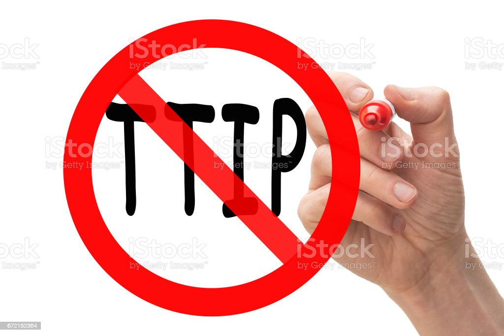 Hand drawing stop sign around TTIP stock photo