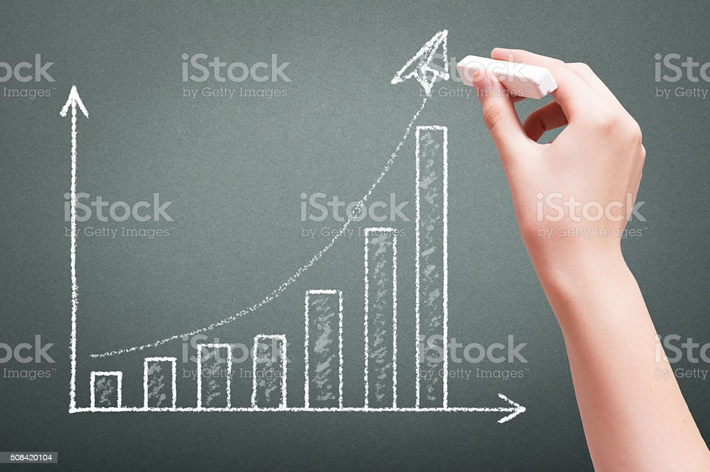 Hand drawing with chalk business growth graph concept stock photo
