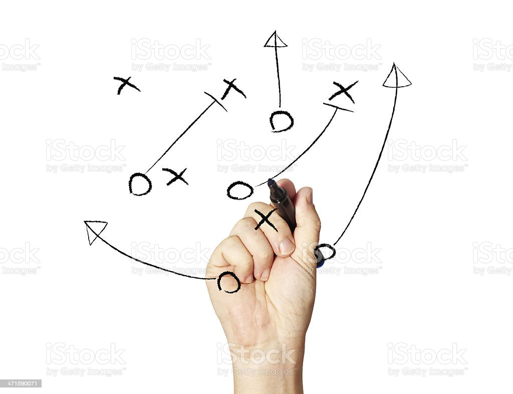 Hand drawing Xs and Os of game plan royalty-free stock photo