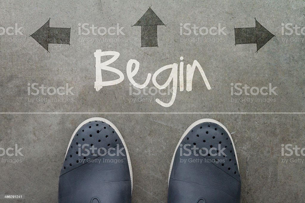 Hand drawn BEGIN design word stock photo