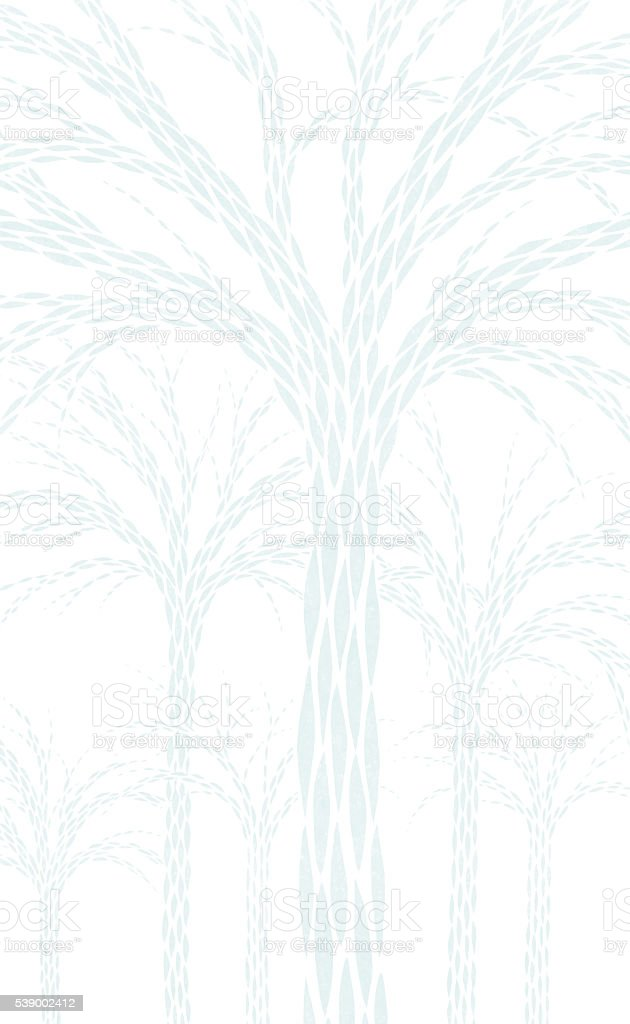 Hand Drawn Brush Stroke Trees Pale Blue on White stock photo