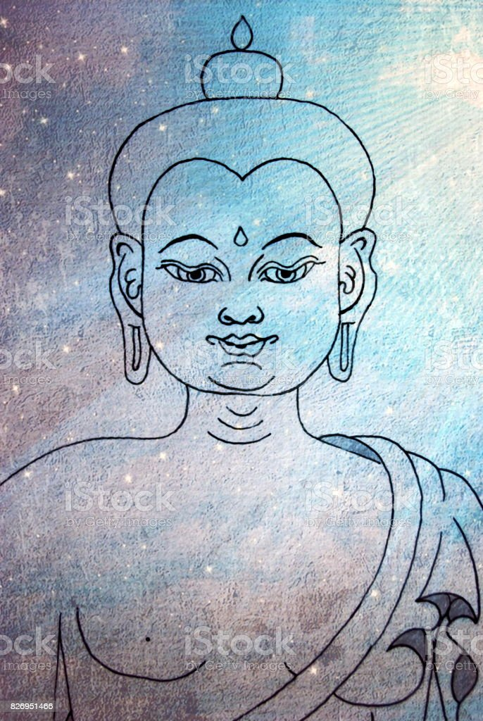 Hand Drawn Buddha with Ethereal Heaven Background stock photo