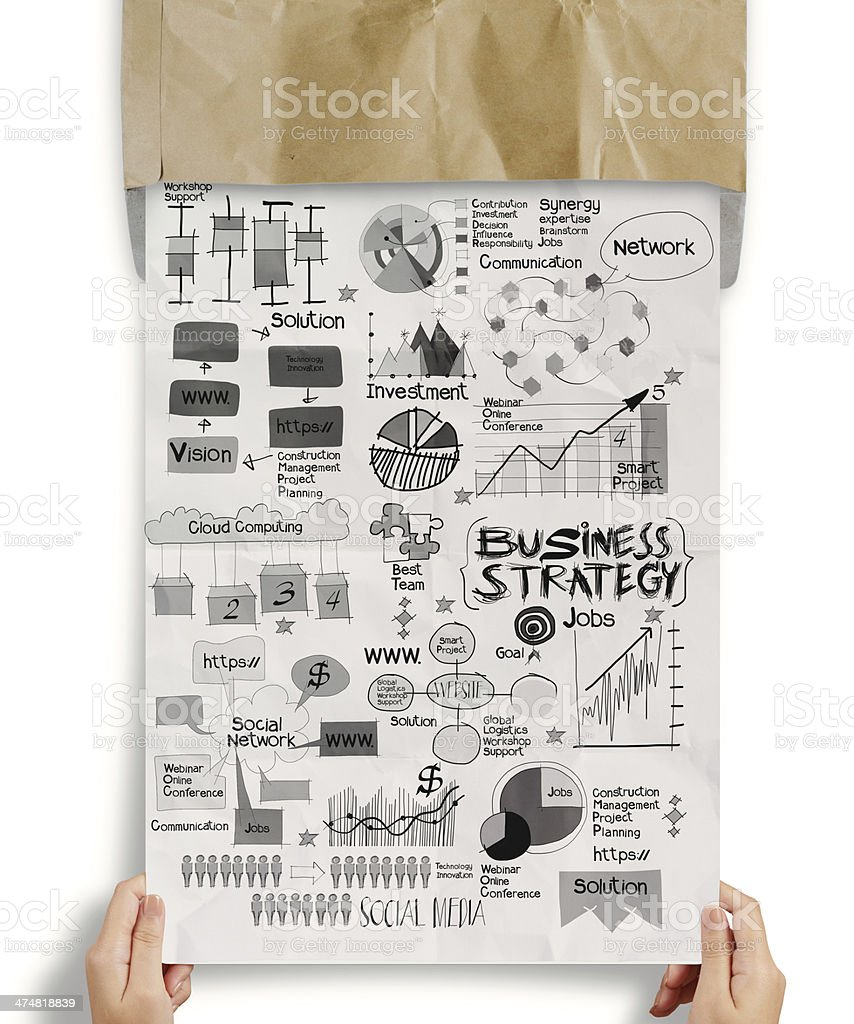 hand drawn business strategy on crumpled paper background royalty-free stock photo