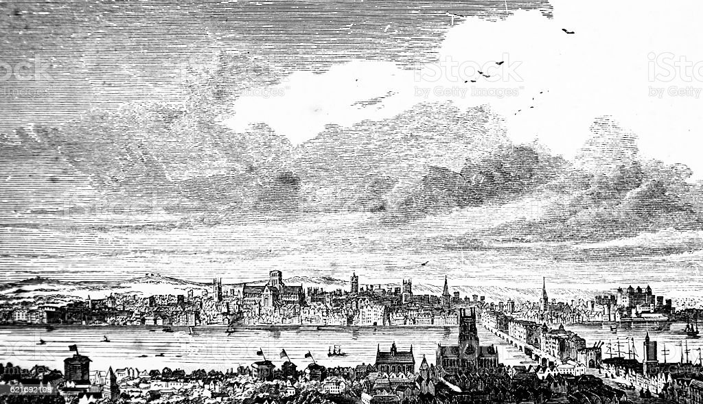 Hand drawn central London - before the great fire stock photo