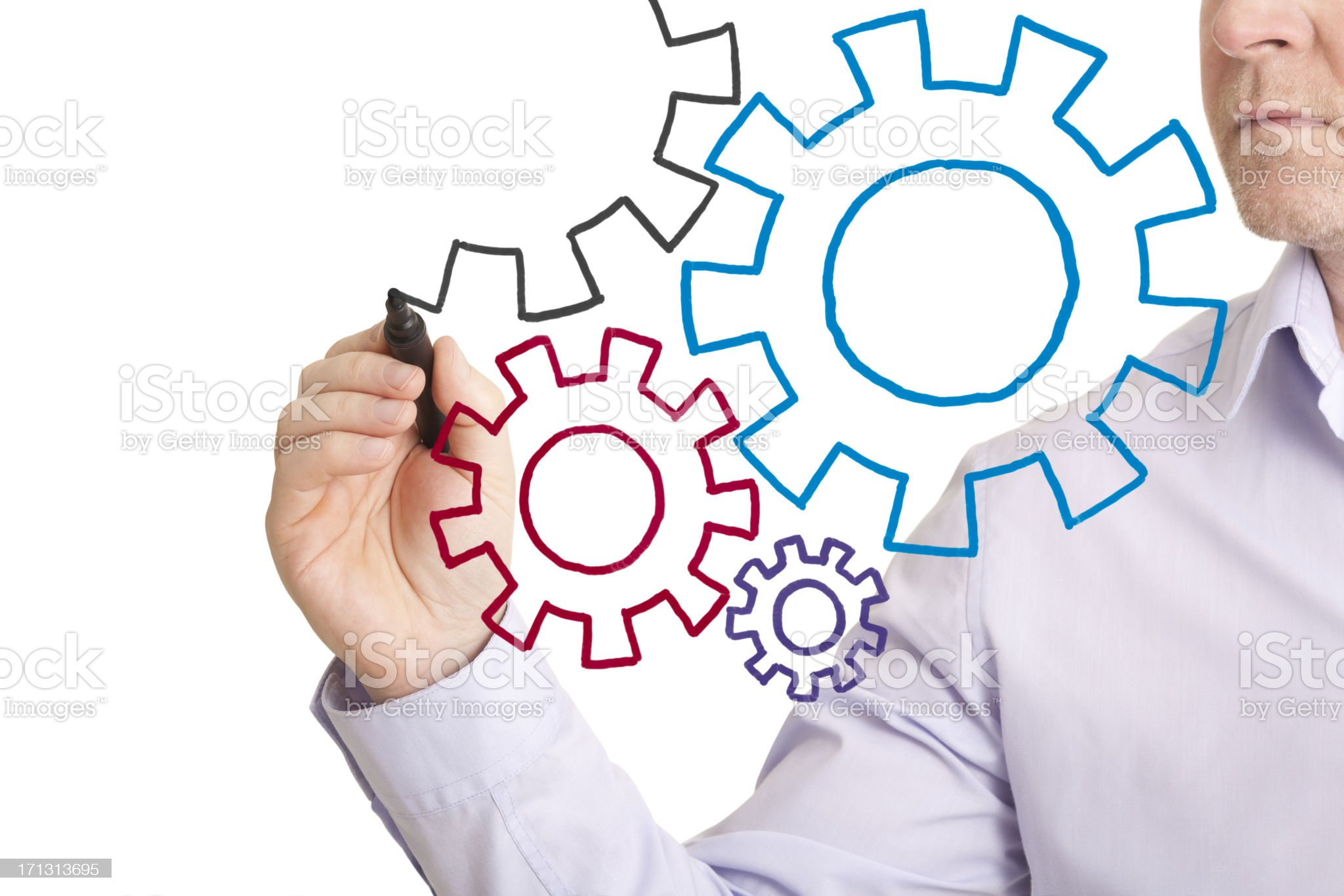Hand drawn cogs royalty-free stock photo