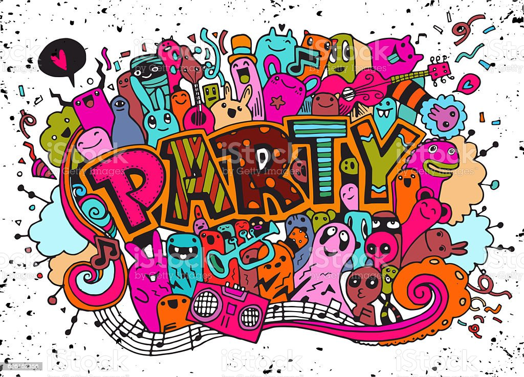 Hand drawn, doodle party set. Sketch icons for invitation, flyer stock photo