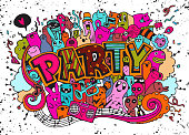 Hand drawn, doodle party set. Sketch icons for invitation, flyer