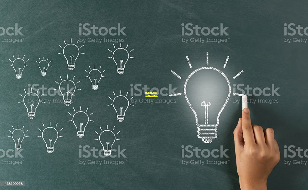 Hand drawn equation of several small bulbs equal one large stock photo