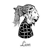 Hand drawn hipster lion head illustration